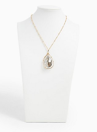 Plus Size Gold-Tone & Black Rhinestone Teardrop Caged Pendant Necklace, , hi-res