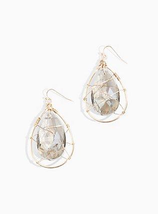 Plus Size Gold-Tone & Black Rhinestone Teardrop Caged Earrings, , alternate