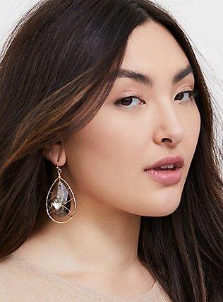 Plus Size Gold-Tone & Black Rhinestone Teardrop Caged Earrings, , hi-res