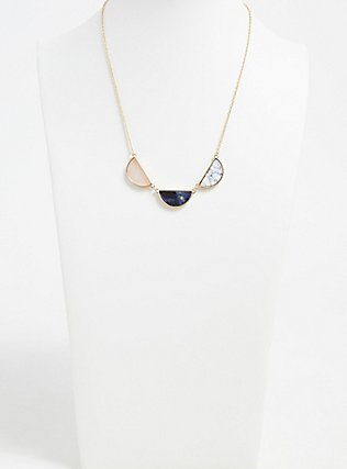 Plus Size Gold-Tone Faux Stone Half Moon Necklace, , hi-res