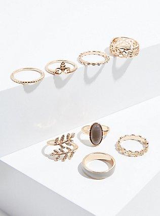 Plus Size Gold-Tone Grey Faux Stone Ring Set - Set of 8, GREY, alternate