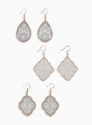 Plus Size Mixed-Tone Filigree & Glitter Dangle Earring Set - Set of 3, , hi-res