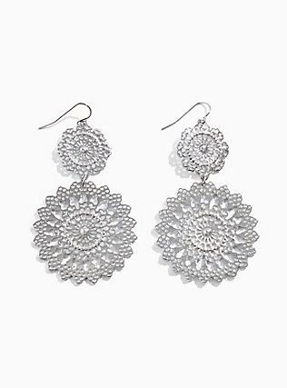 Plus Size Silver-Tone Round Filigree Statement Earrings, , hi-res