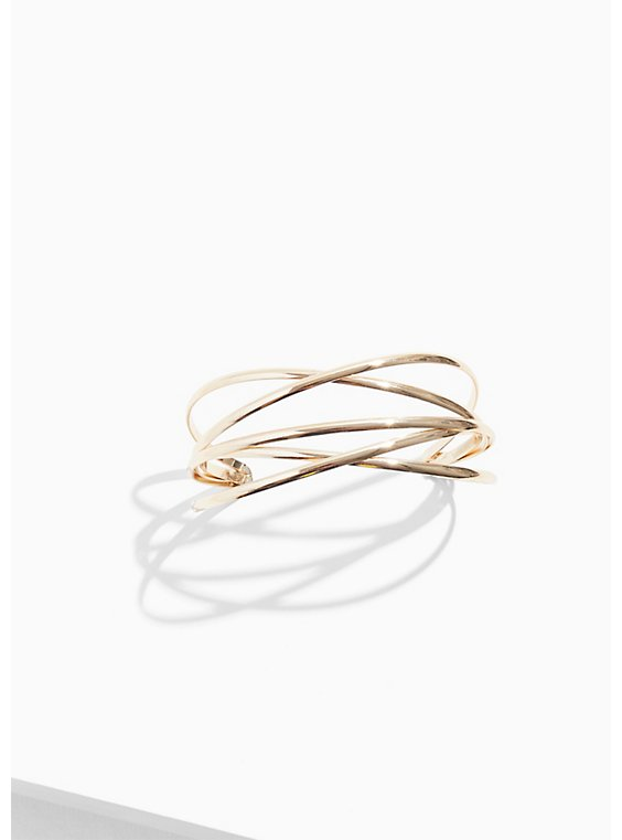 Gold-Tone Crisscross Cuff, GOLD, hi-res