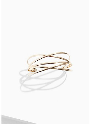 Plus Size Gold-Tone Crisscross Cuff, GOLD, hi-res