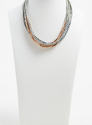 Plus Size Grey & Gold-Tone Beaded Torsade Necklace, , alternate