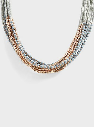 Plus Size Grey & Gold-Tone Beaded Torsade Necklace, , hi-res
