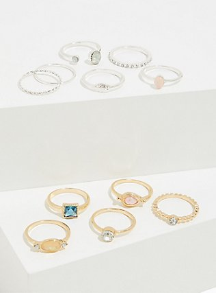 Plus Size Faux Stone Stackable Ring Set - Set of 11, MULTI, hi-res