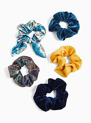 Plus Size Blue Floral Bow Hair Tie Pack - Pack of 5, , hi-res