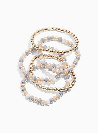 Plus Size Multi Beaded Stretch Bracelet Set - Set of 5, , hi-res