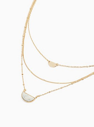Plus Size Gold-Tone & White Howlite Half Moon Layered Necklace, , alternate