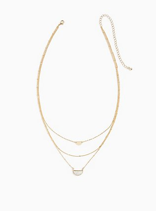 Plus Size Gold-Tone & White Howlite Half Moon Layered Necklace, , hi-res
