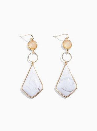 Plus Size White Stone Dangle Statement Earrings, , alternate