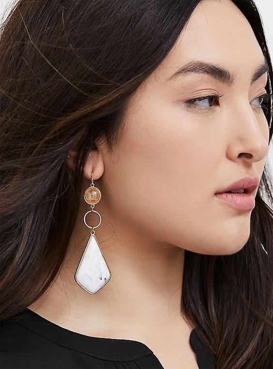 Plus Size White Stone Dangle Statement Earrings, , hi-res