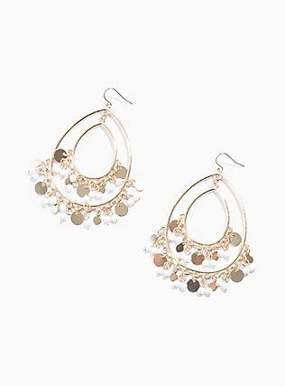 Plus Size Gold-Tone Beaded Teardrop Statement Earrings, , hi-res