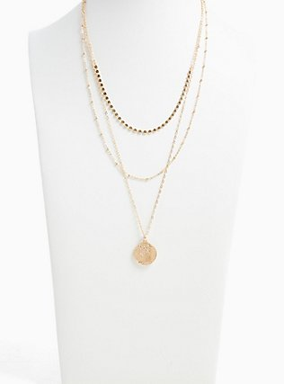 Plus Size Gold-Tone Coin Pendant Layered Necklace, , alternate