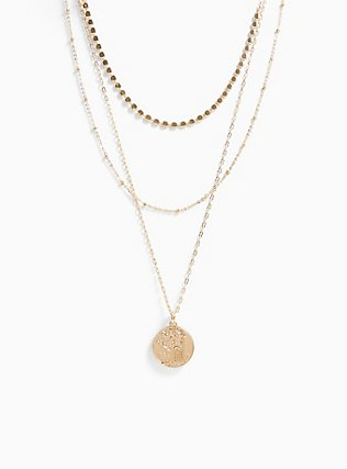 Plus Size Gold-Tone Coin Pendant Layered Necklace, , hi-res
