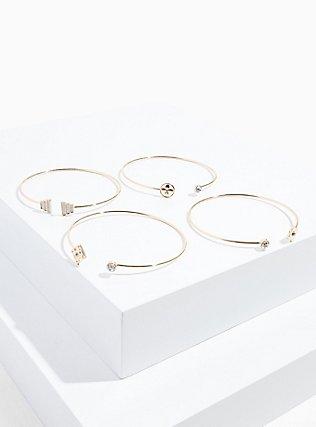 Plus Size Gold-Tone Rhinestone Delicate Cuff Set - Set of 4, GOLD, hi-res