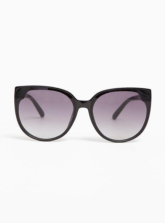 Plus Size Black & Ombre Cat Eye Sunglasses, , hi-res