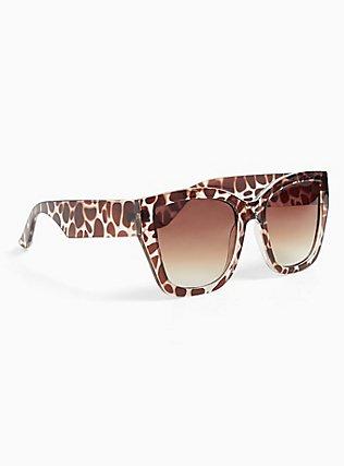 Plus Size Animal Print Oversized Sunglasses, , alternate
