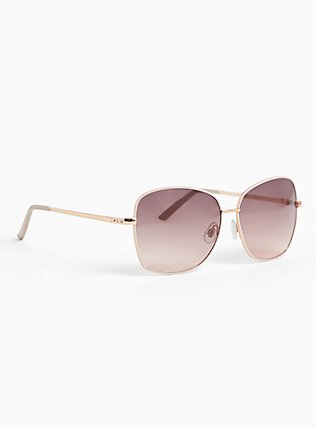 Rose-Gold Tone & Blush Square Sunglasses, , ls