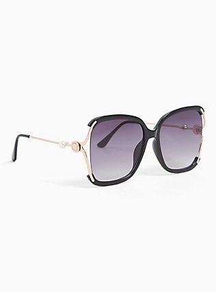 Black & Gold-Tone Cutout Square Sunglasses, , alternate