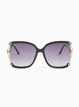 Black & Gold-Tone Cutout Square Sunglasses, , hi-res