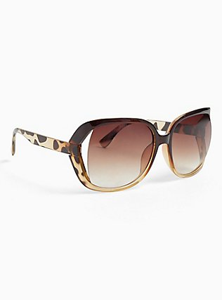 Ombre Animal Print Cutout Sunglasses, , alternate