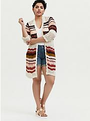 Ivory Multi Stripe Crochet Open Front Cardigan, STRIPE - MULTICOLOR, alternate