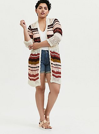 Plus Size Ivory Multi Stripe Crochet Open Front Cardigan, STRIPE - MULTICOLOR, alternate