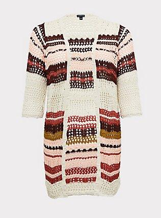 Plus Size Ivory Multi Stripe Crochet Open Front Cardigan, STRIPE - MULTICOLOR, flat
