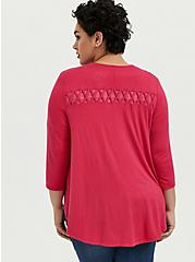 Super Soft Fuchsia Pink Lattice Insert Hi-Lo Cardigan, PINK PASSION, alternate