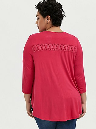 Super Soft Fuchsia Pink Lattice Insert Hi-Lo Cardigan, PINK PASSION, alternate