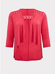 Super Soft Fuchsia Pink Lattice Insert Hi-Lo Cardigan, PINK PASSION, hi-res