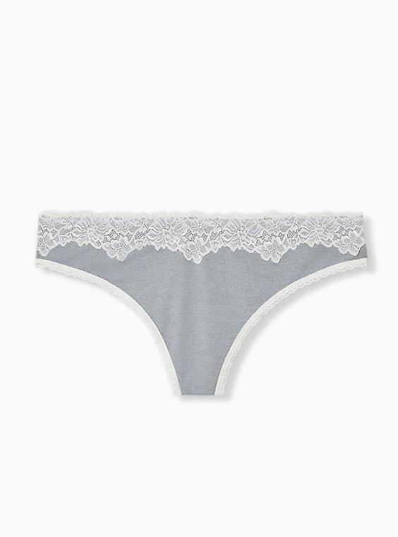 Light Heather Grey Microfiber Thong Panty, , hi-res