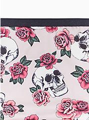 Plus Size Light Pink Skull Rose Microfiber Lattice Thong Panty, SKULL ROSES, alternate