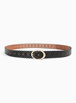 Plus Size Reversible Black & Tan Faux Leather Scalloped Belt , BLACK, alternate