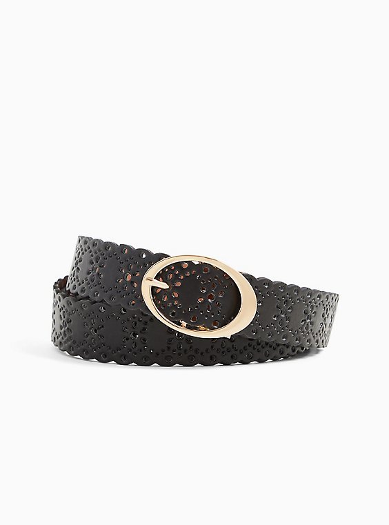 Reversible Black & Tan Faux Leather Scalloped Belt , , hi-res