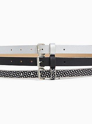 Black & Glitter Faux Leather Belt Pack - Pack of 3, BLACK, alternate