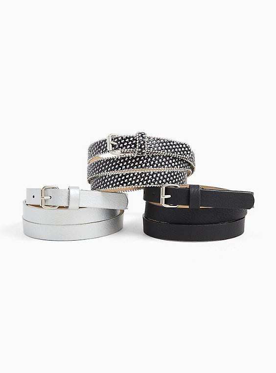 Plus Size Black & Glitter Faux Leather Belt Pack - Pack of 3, , hi-res