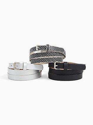 Black & Glitter Faux Leather Belt Pack - Pack of 3, BLACK, hi-res