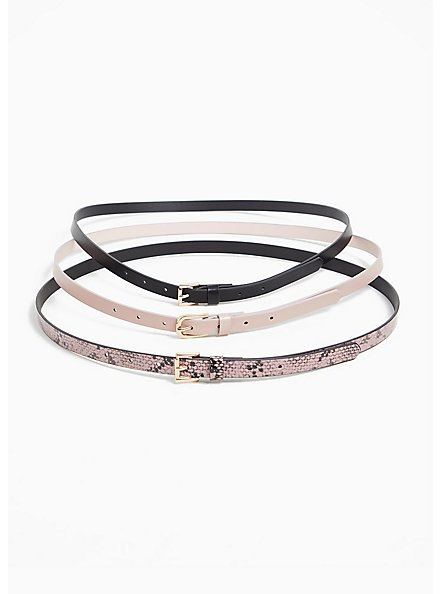 Pink Snakeskin Print Faux Leather Belt Pack - Pack of 3, MULTI, alternate