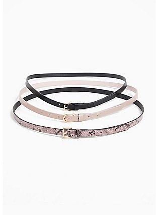 Plus Size Pink Snakeskin Print Faux Leather Belt Pack - Pack of 3, MULTI, alternate