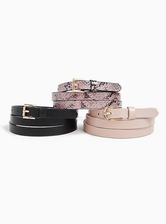 Plus Size Pink Snakeskin Print Faux Leather Belt Pack - Pack of 3, , hi-res