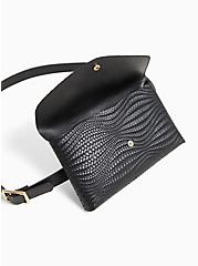Black Braided Faux Leather Envelope Belt Bag, BLACK, alternate
