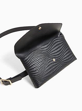 Black Braided Faux Leather Envelope Belt Bag, BLACK, alternate