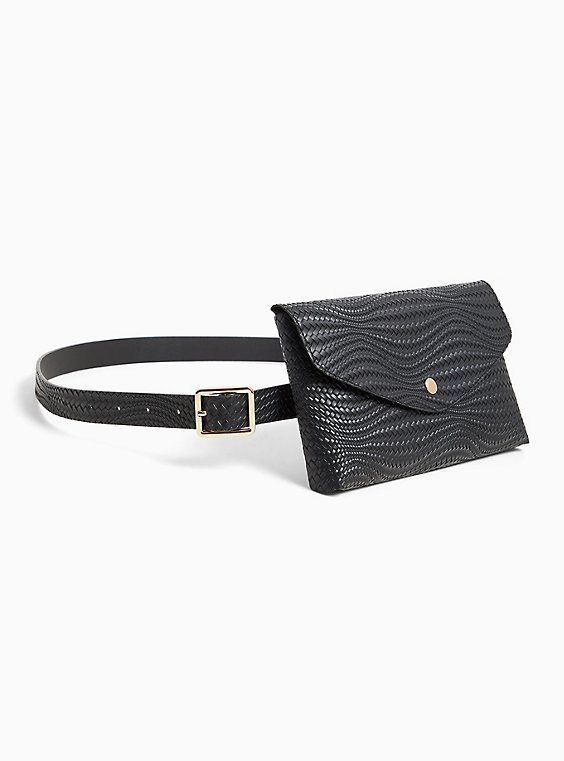 Black Braided Faux Leather Envelope Belt Bag, , hi-res