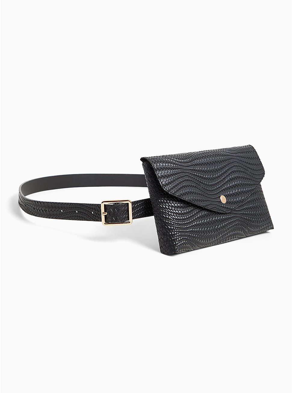 Black Braided Faux Leather Envelope Belt Bag, BLACK, hi-res