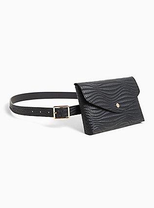 Black Braided Faux Leather Envelope Belt Bag, BLACK, hi-res