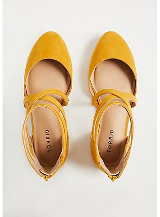 Mustard Yellow Faux Suede Strappy Flat (WW), YELLOW, alternate